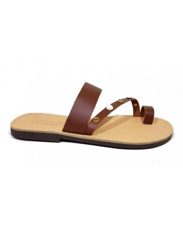 GREEK LEATHER SANDALS  014 BROWN