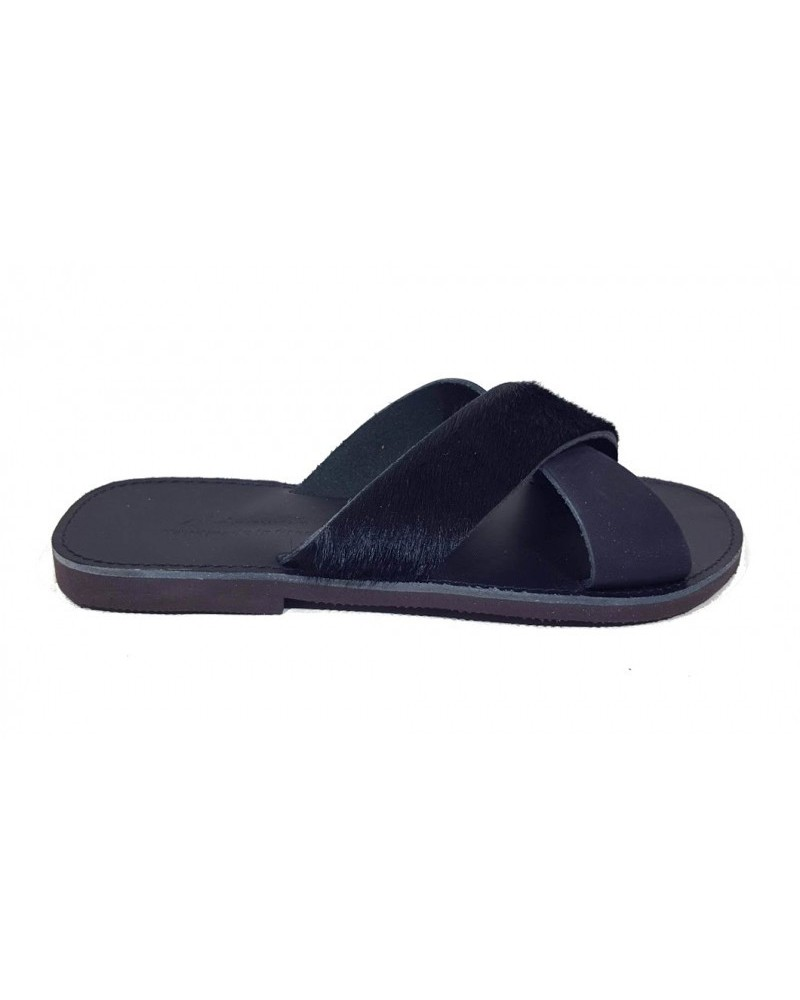 GREEK LEATHER SANDALS  022 BLACK