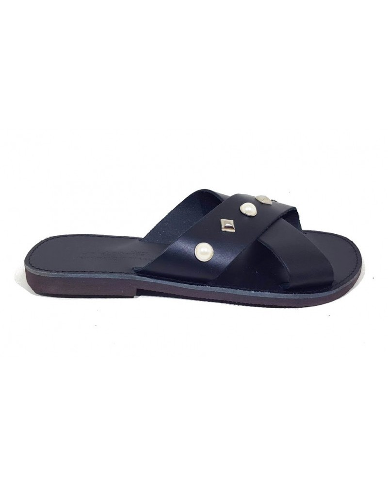 GREEK LEATHER SANDALS  022P BLACK