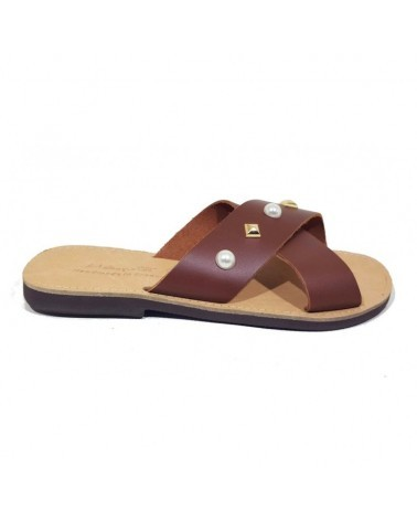 GREEK LEATHER SANDALS  022P BROWN