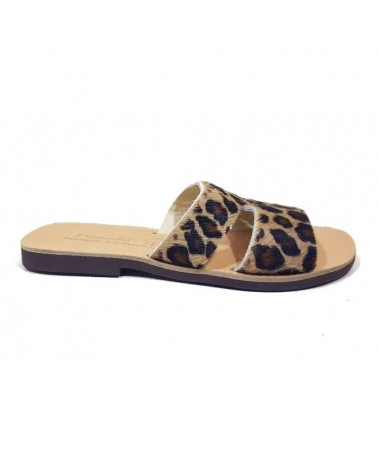 GREEK LEATHER SANDALS  013 LEOPARD