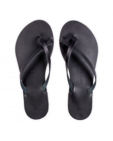 GREEK LEATHER SANDALS 017 BLACK
